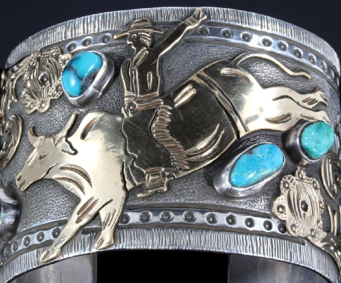 Signed Navajo Sterling & 12k Gold Pictorial Cuff - 6