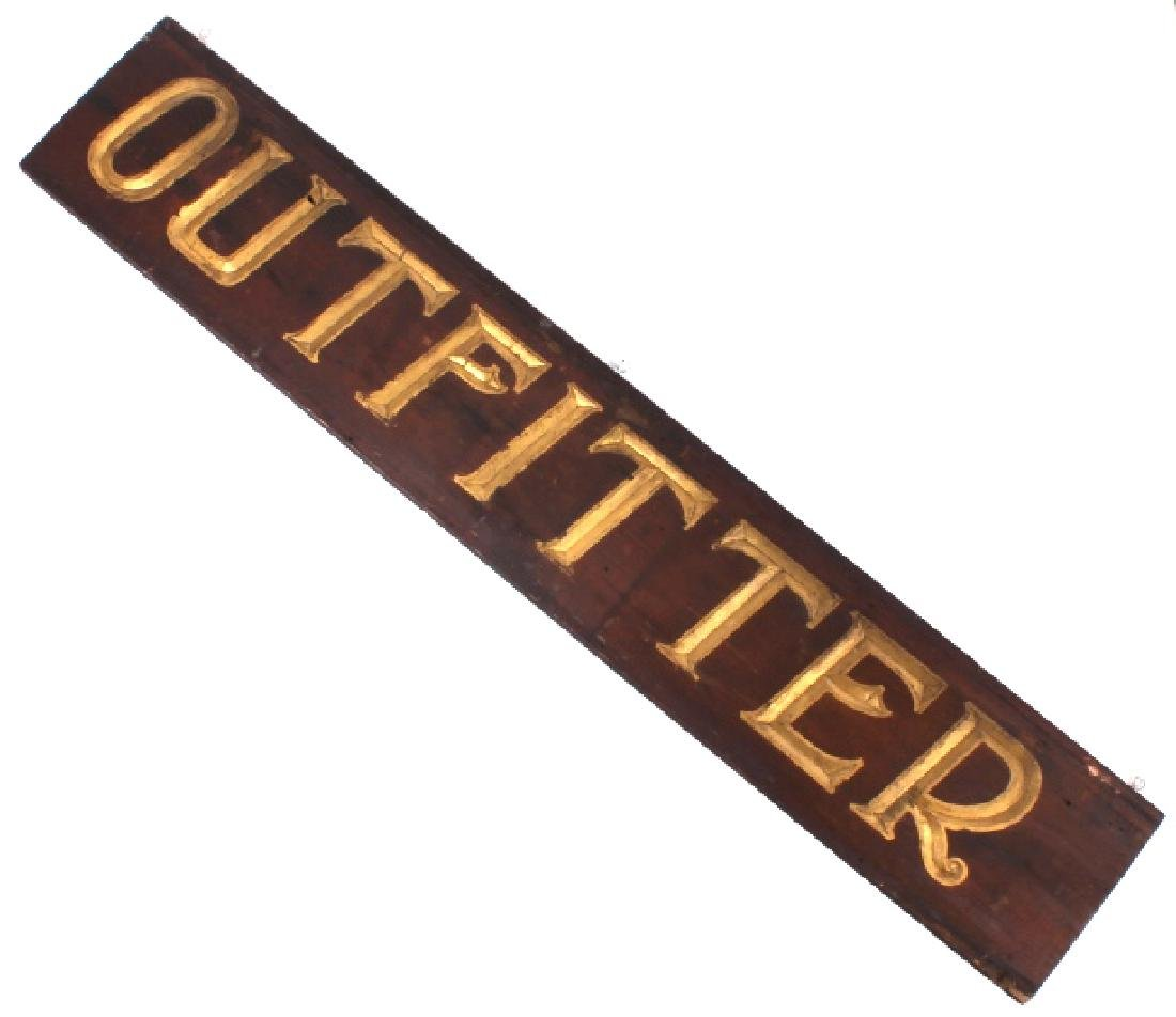 Early Outfitter Trade Sign Carved Wood c. 19th