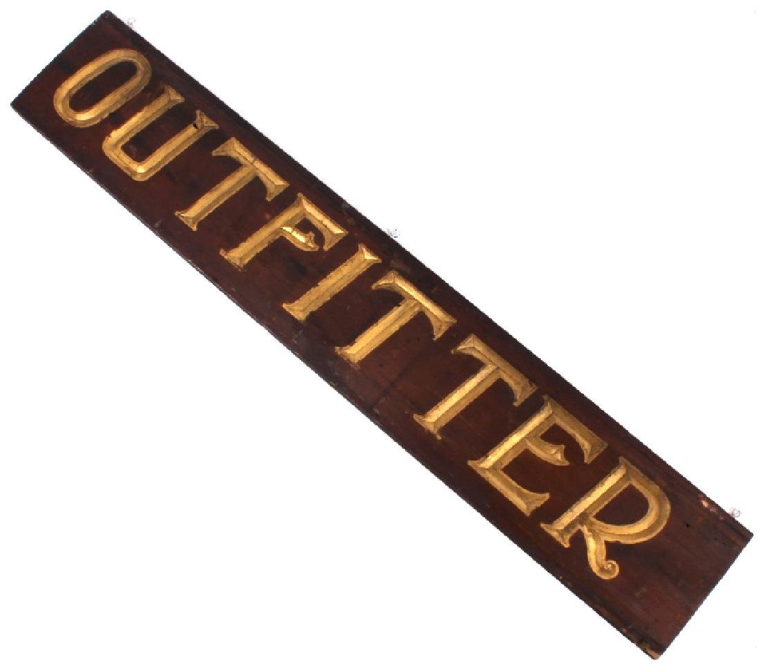 Early Outfitter Trade Sign Carved Wood c. 19th - 2
