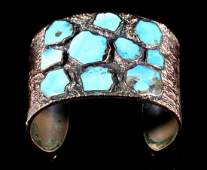 Signed Navajo Solid Copper  Turquoise Cuff