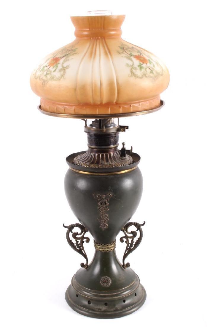 Victorian Full Metal Kerosene Lamp c. 1892-