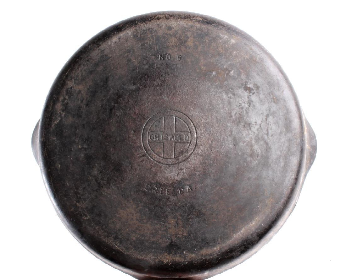 Griswold Number 8 & 9 Cast Iron Skillet w/ Lid - 7
