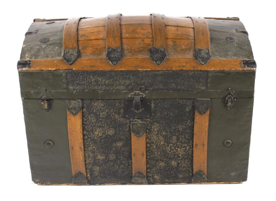 Ornate Early 19th Century Humpback Wooden Trunk