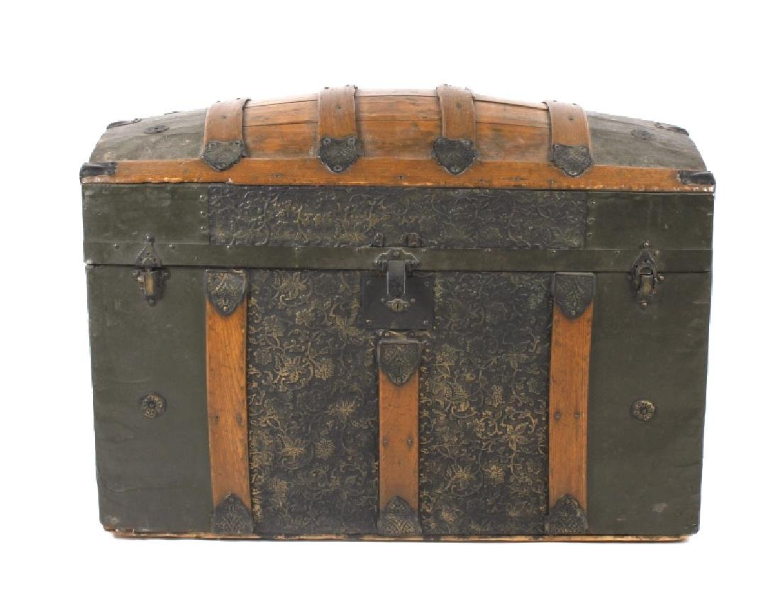 Ornate Early 19th Century Humpback Wooden Trunk - 2