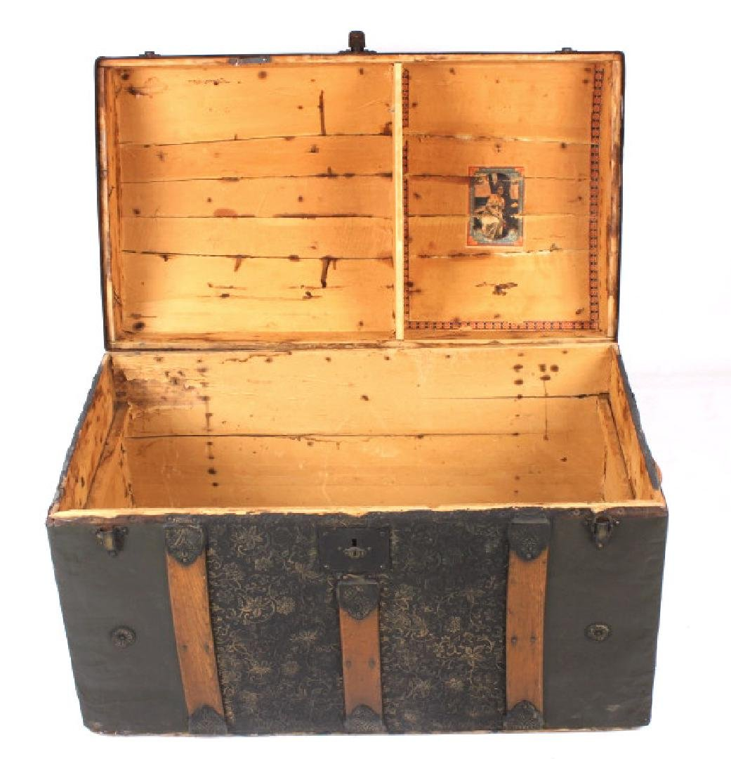 Ornate Early 19th Century Humpback Wooden Trunk - 9