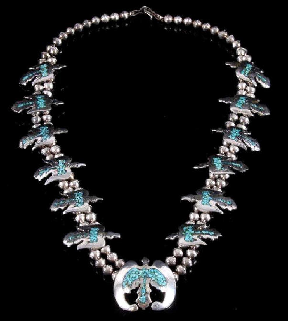 Navajo Water Bird Effigy Charm Necklace