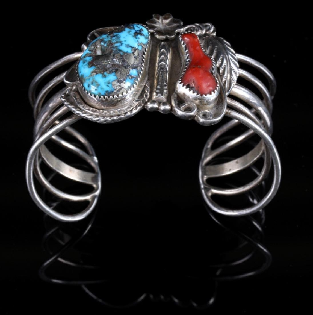 Navajo Morenci Turquoise, Sterling & Coral Cuff
