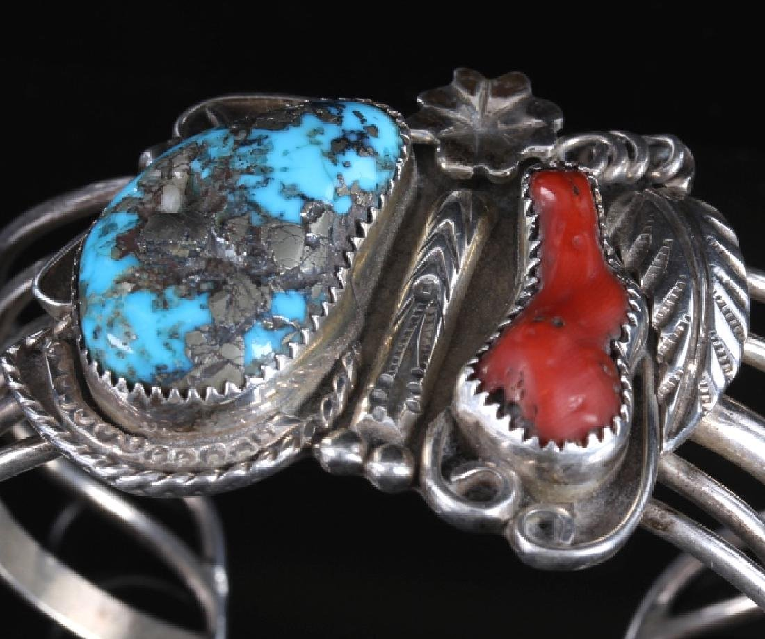 Navajo Morenci Turquoise, Sterling & Coral Cuff - 2