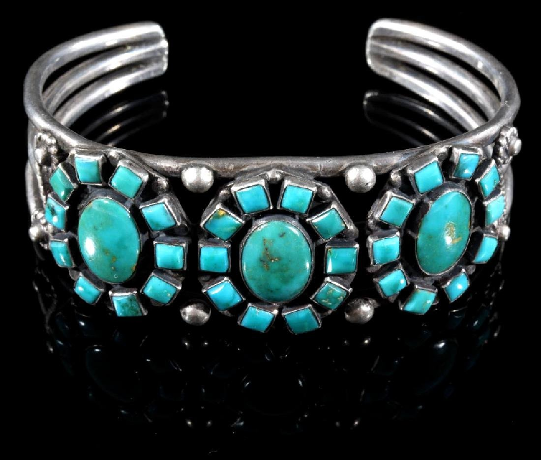 Navajo Turquoise & Sterling Silver Cluster Cuff