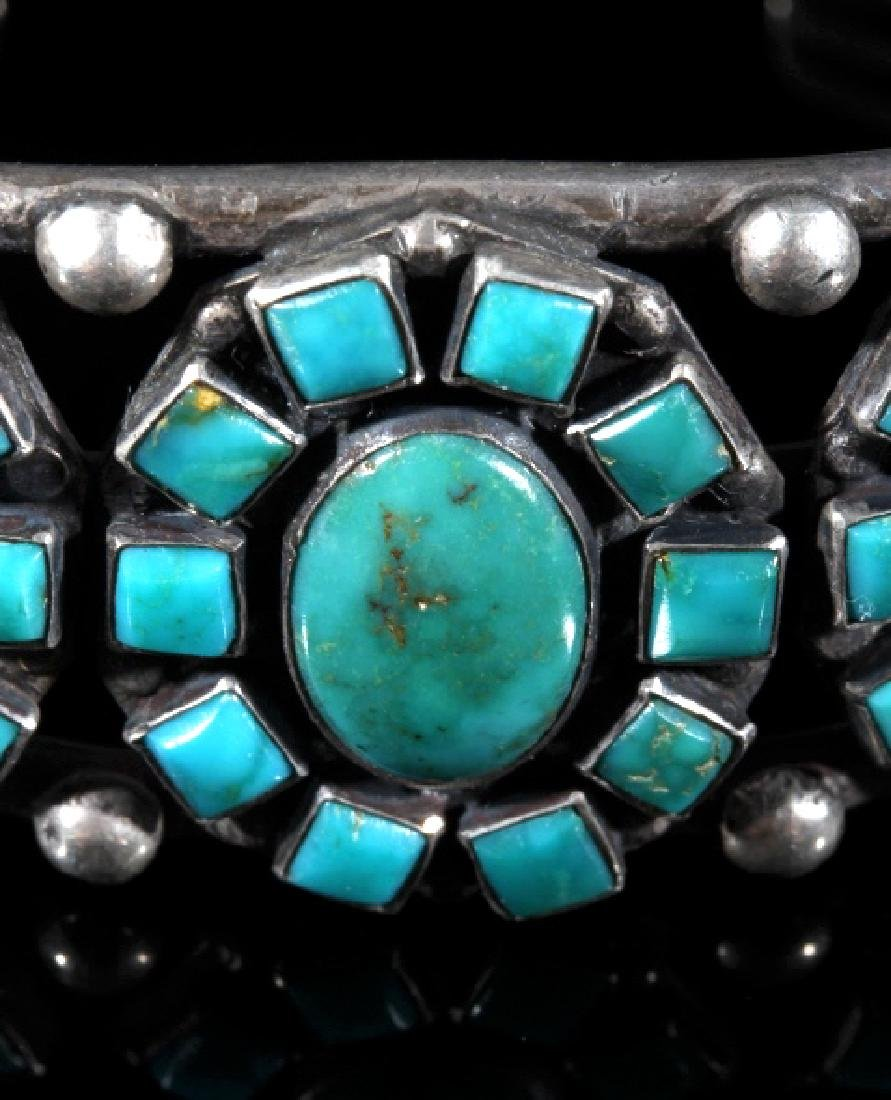 Navajo Turquoise & Sterling Silver Cluster Cuff - 2