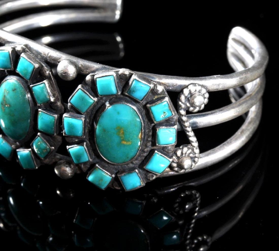Navajo Turquoise & Sterling Silver Cluster Cuff - 3