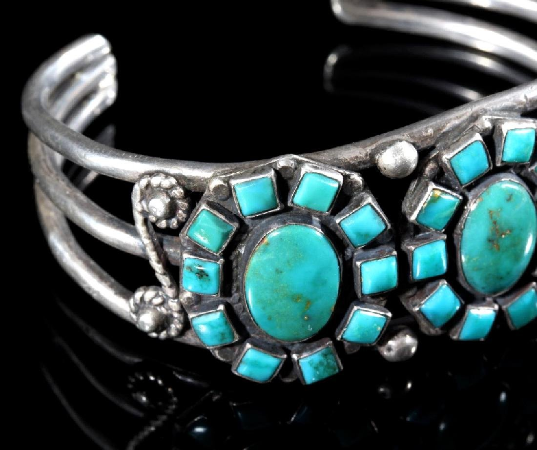 Navajo Turquoise & Sterling Silver Cluster Cuff - 4