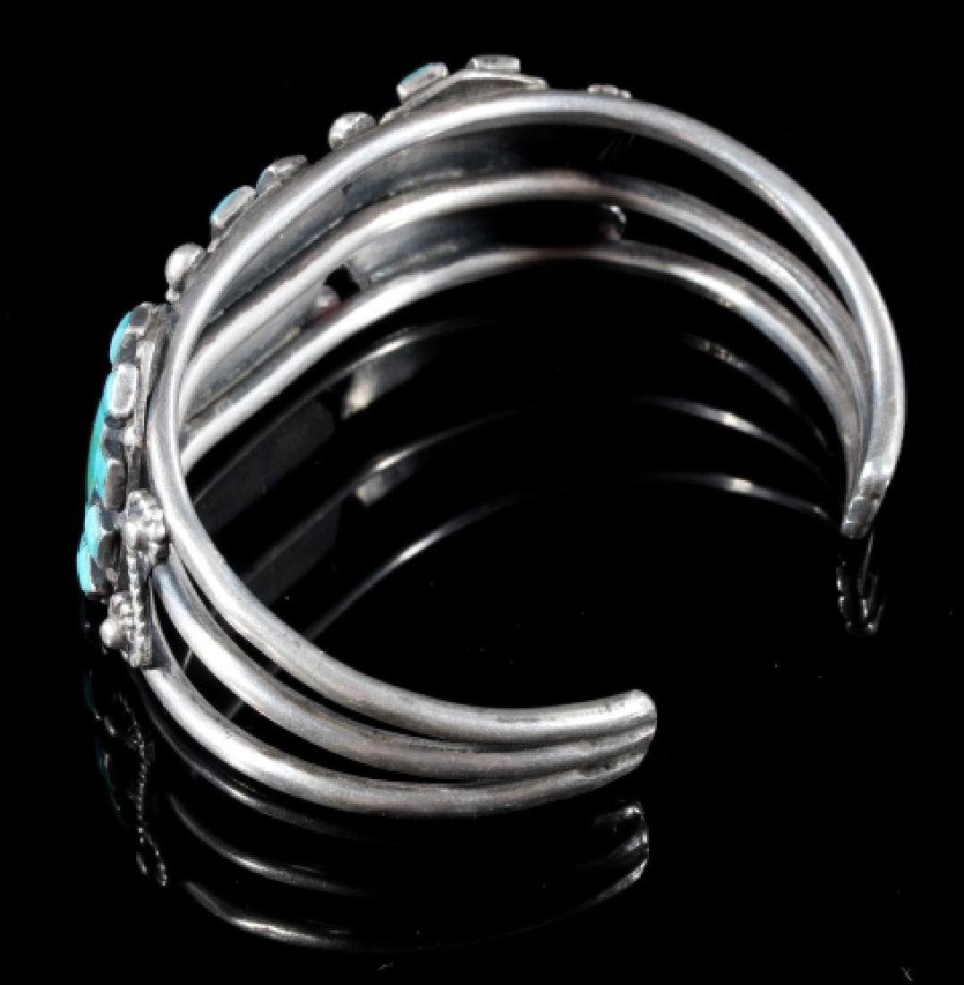 Navajo Turquoise & Sterling Silver Cluster Cuff - 5