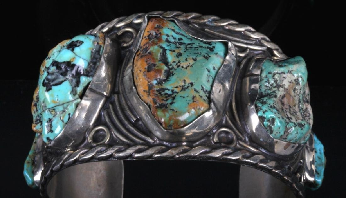 Navajo Sterling Silver Turquoise Cuff - 2