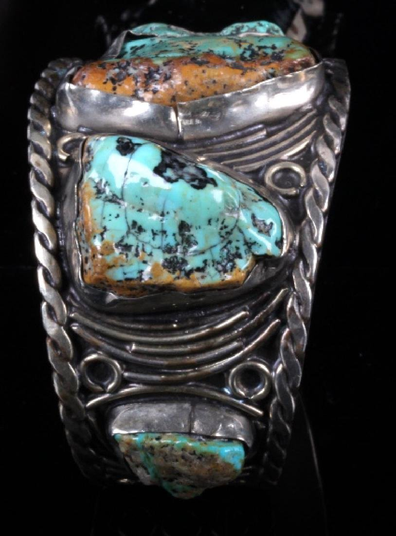 Navajo Sterling Silver Turquoise Cuff - 3