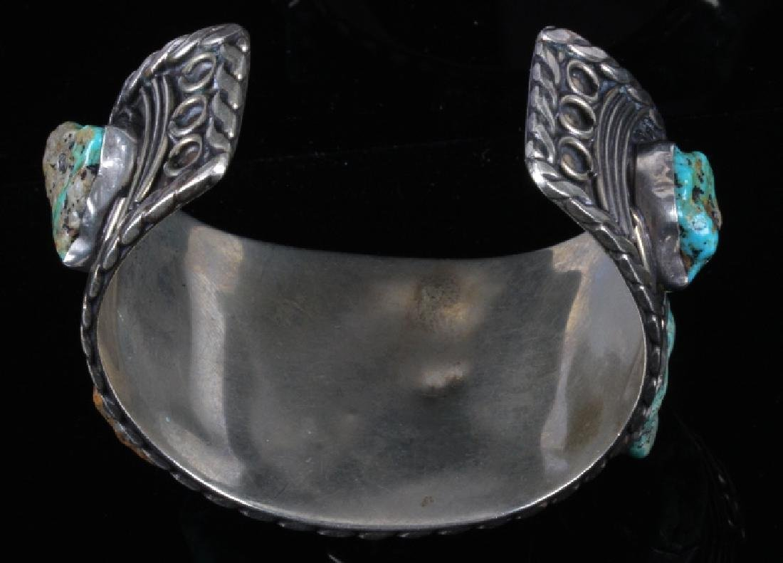 Navajo Sterling Silver Turquoise Cuff - 4