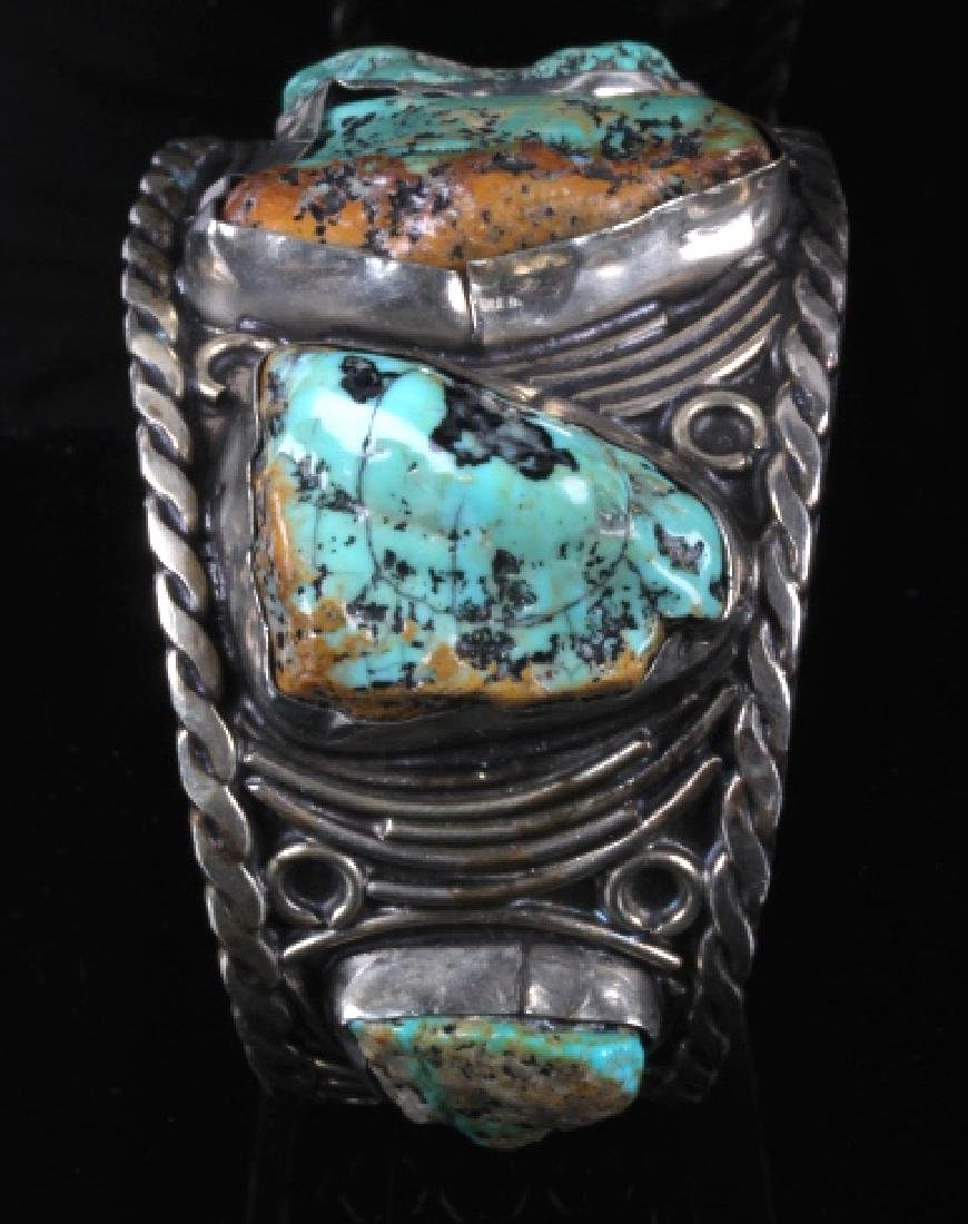Navajo Sterling Silver Turquoise Cuff - 5