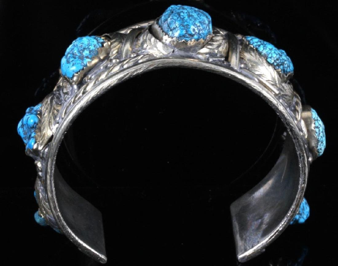 Navajo Turquoise Sterling Silver Bracelet - 2