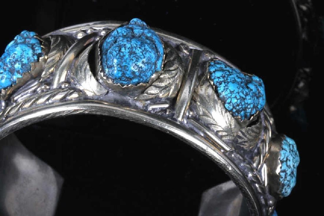 Navajo Turquoise Sterling Silver Bracelet - 4