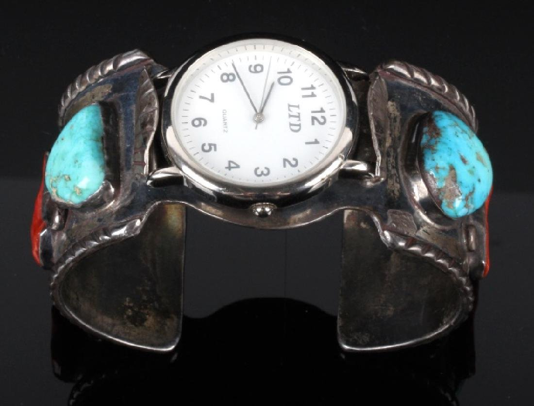 Navajo Sterling Silver Turquoise and Coral Watch