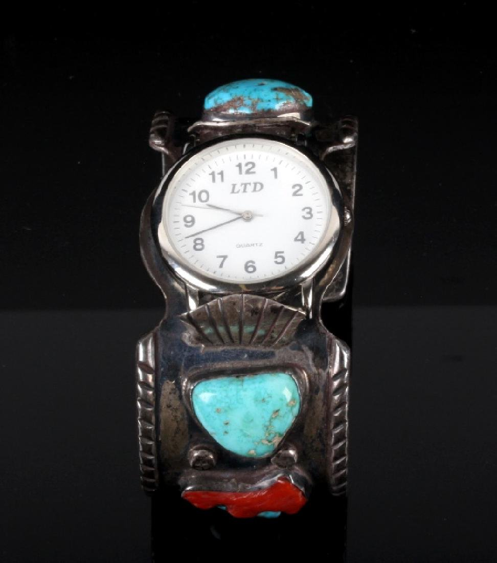 Navajo Sterling Silver Turquoise and Coral Watch - 2