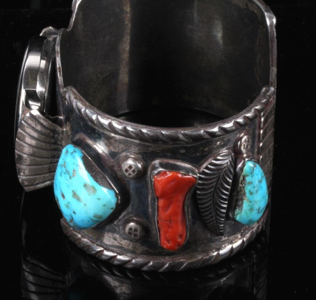 Navajo Sterling Silver Turquoise and Coral Watch - 3