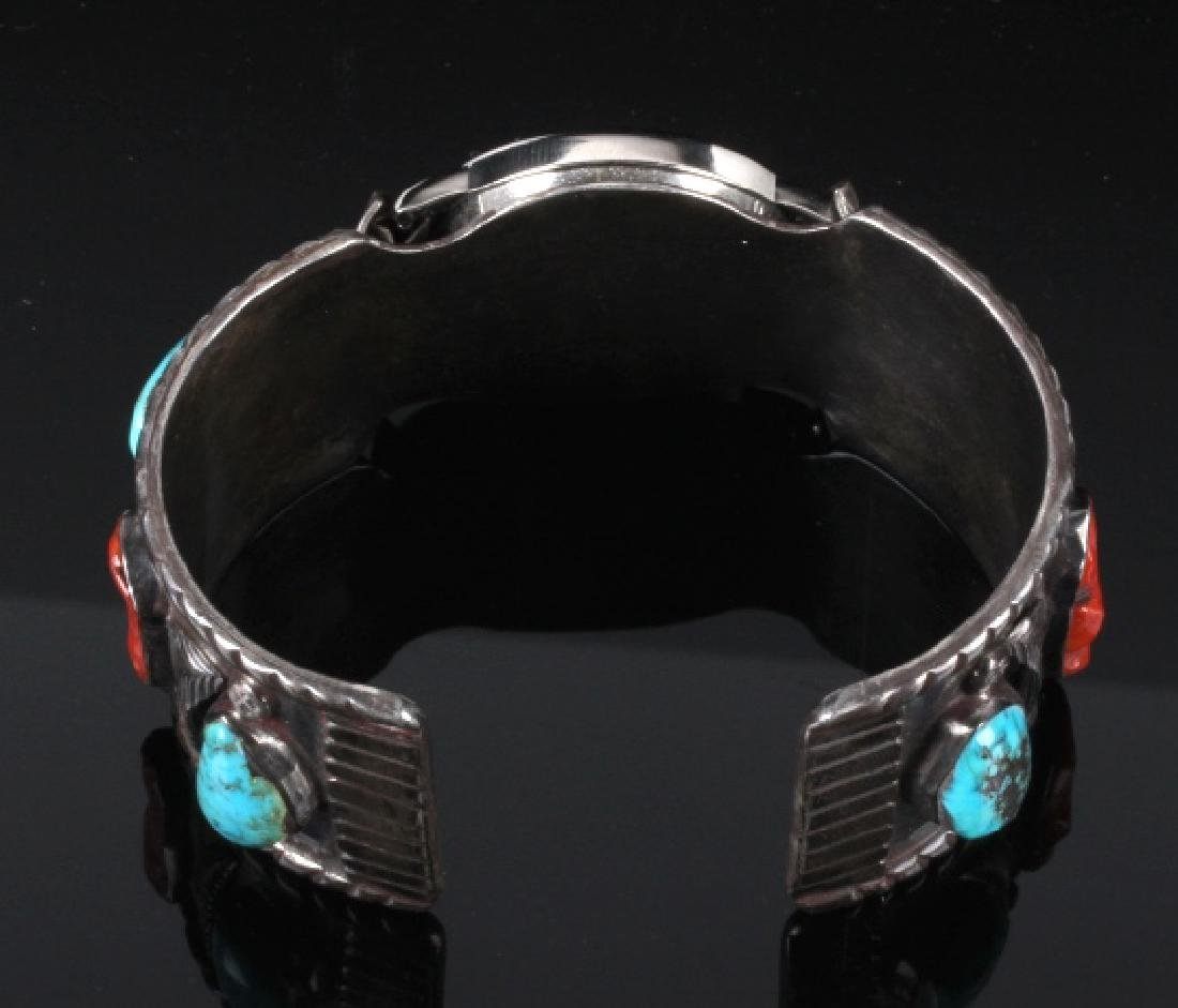 Navajo Sterling Silver Turquoise and Coral Watch - 4