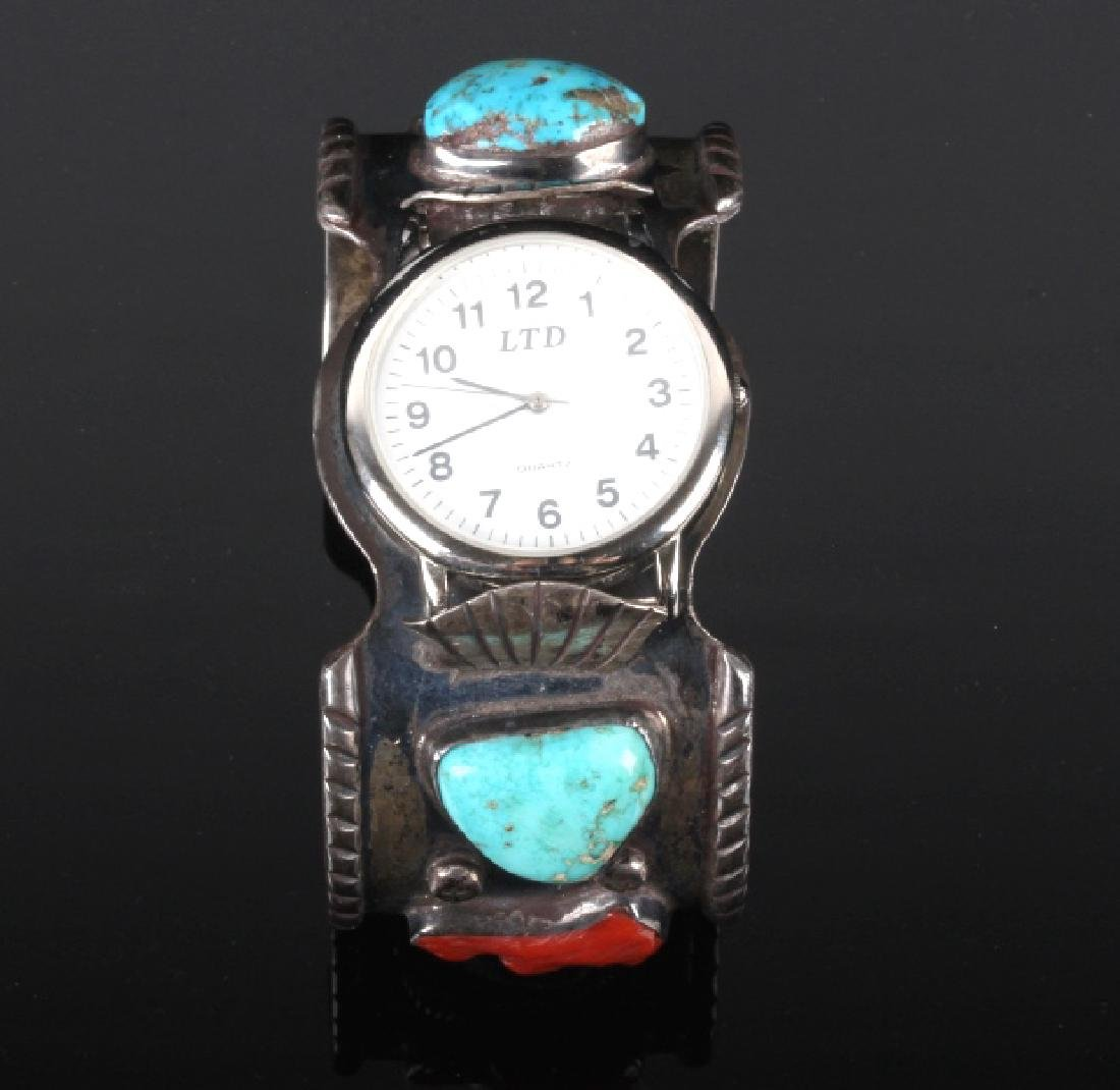 Navajo Sterling Silver Turquoise and Coral Watch - 5