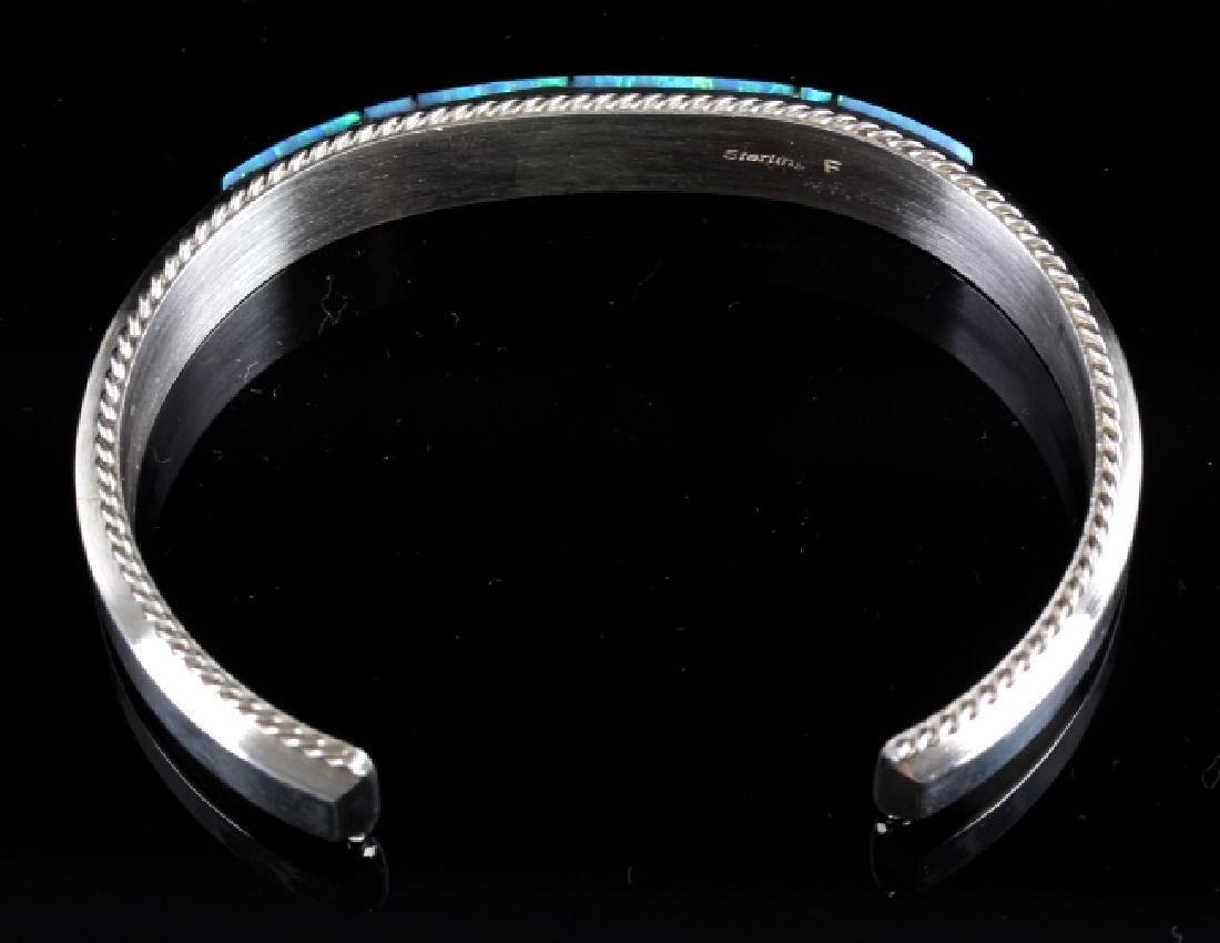 Fran Yazzie Navajo Inlaid Blue Opal Sterling Cuff - 5