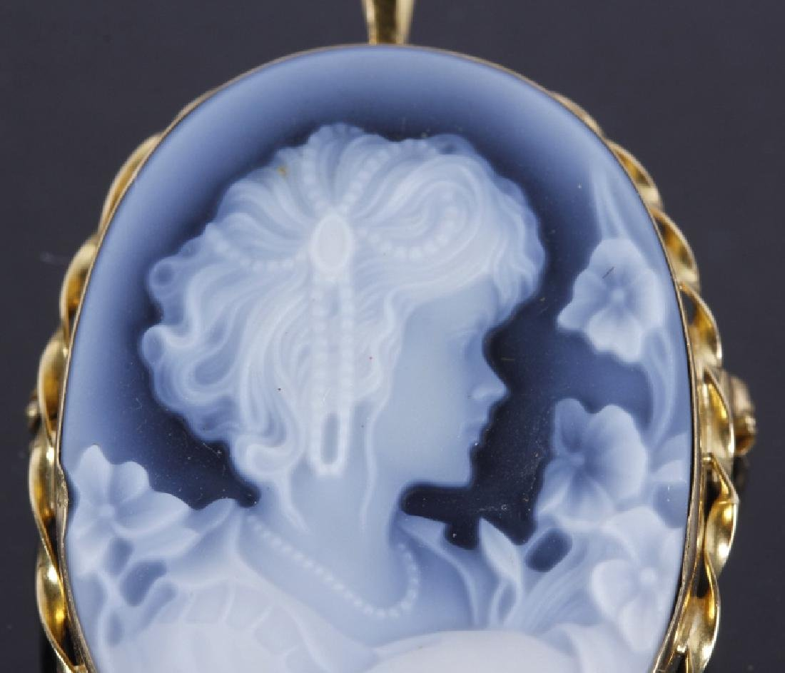 18k Gold & Carved Blue Agate Cameo Brooch - 5