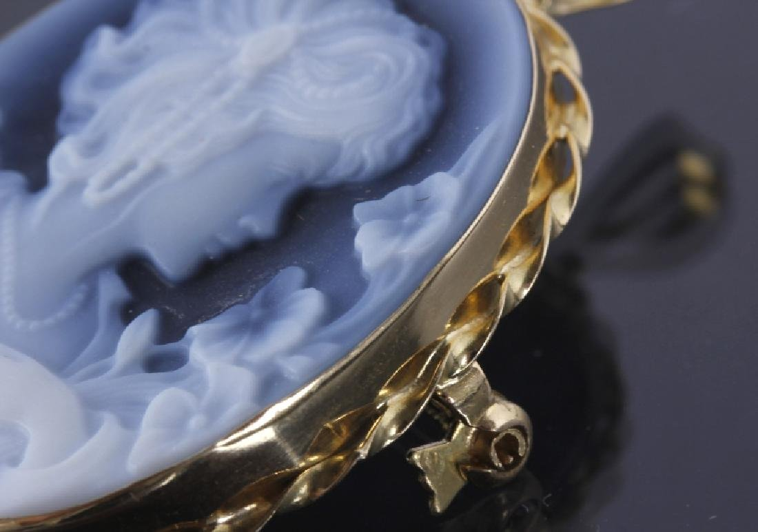 18k Gold & Carved Blue Agate Cameo Brooch - 6