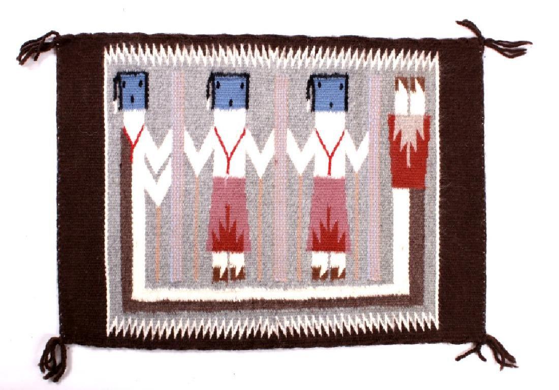 Rainbow Guardian Yei Navajo Woven Wool Rug