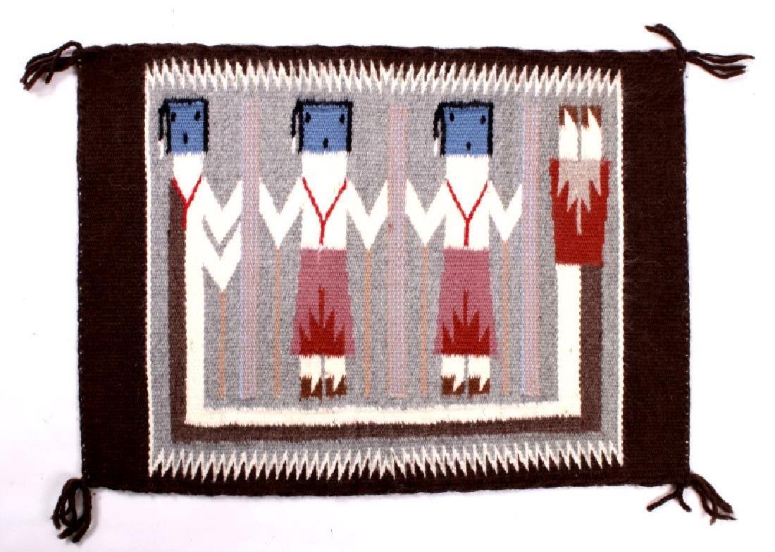 Rainbow Guardian Yei Navajo Woven Wool Rug - 8