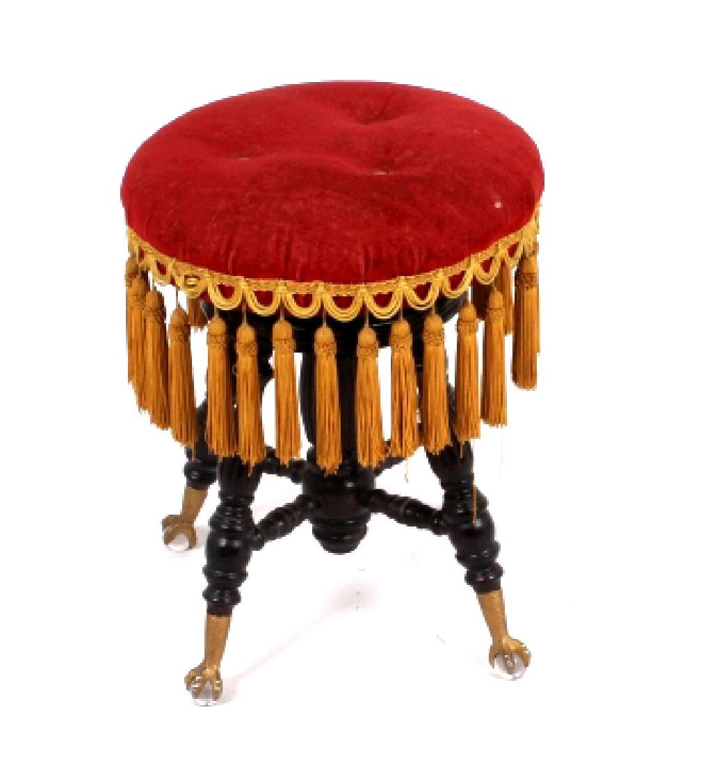 Early Glass Ball & Claw Piano Stool 1890-1900