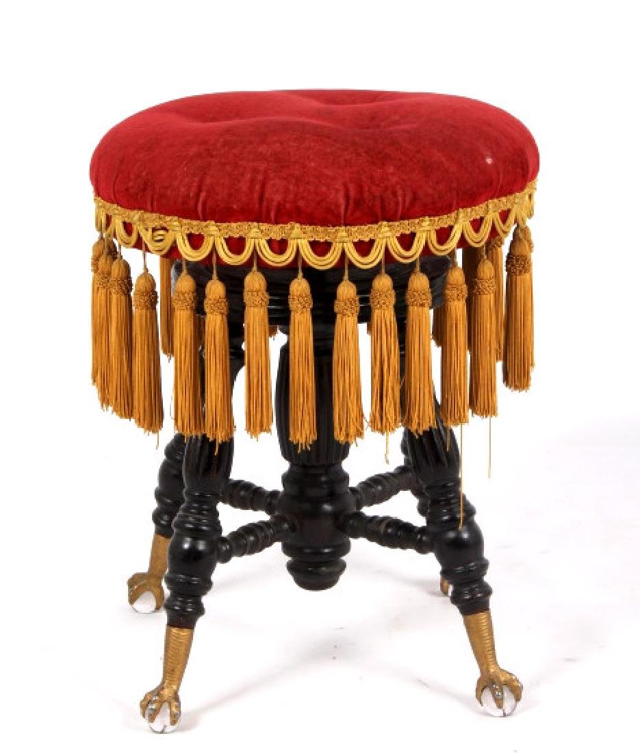 Early Glass Ball & Claw Piano Stool 1890-1900 - 2