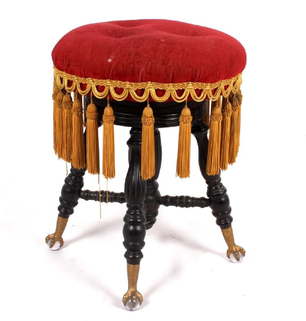 Early Glass Ball & Claw Piano Stool 1890-1900 - 6
