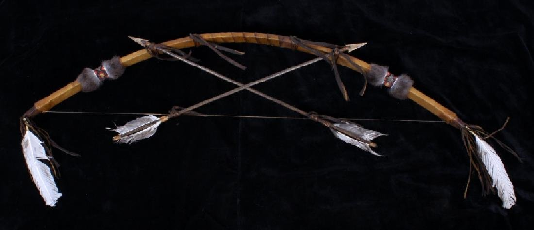 Plains Indian Bow and Arrow Leather Wall Decor