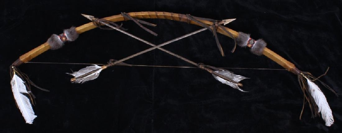 Plains Indian Bow and Arrow Leather Wall Decor - 2