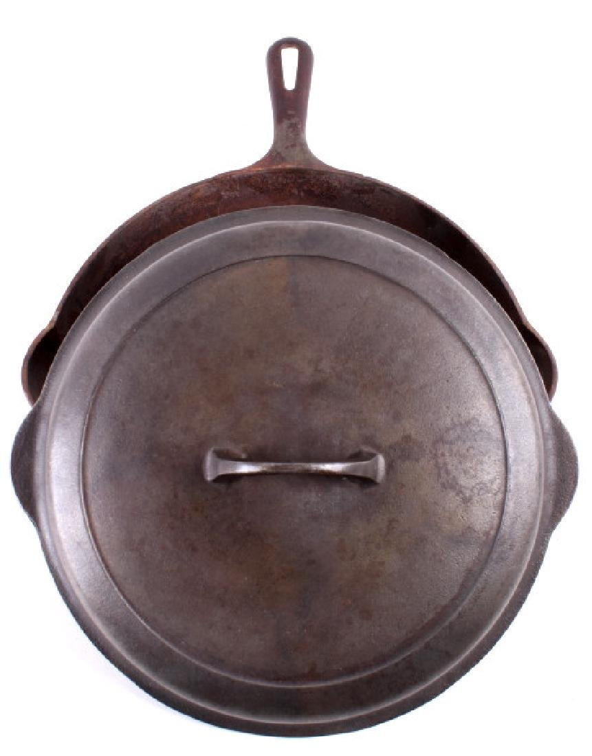 Large No. 10 Griswold Saute Pan With Lid - 2