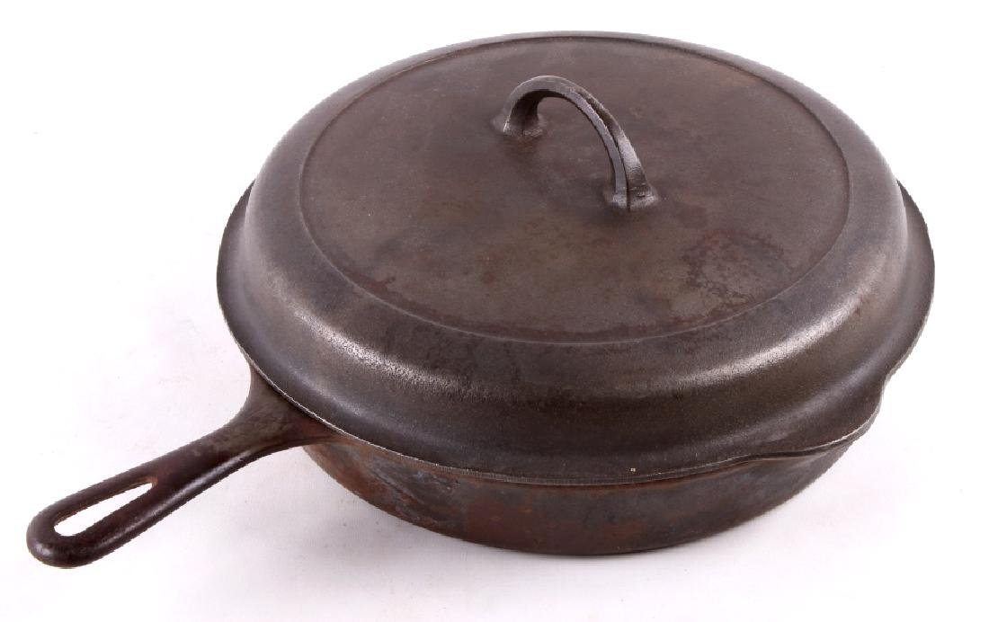 Large No. 10 Griswold Saute Pan With Lid - 9