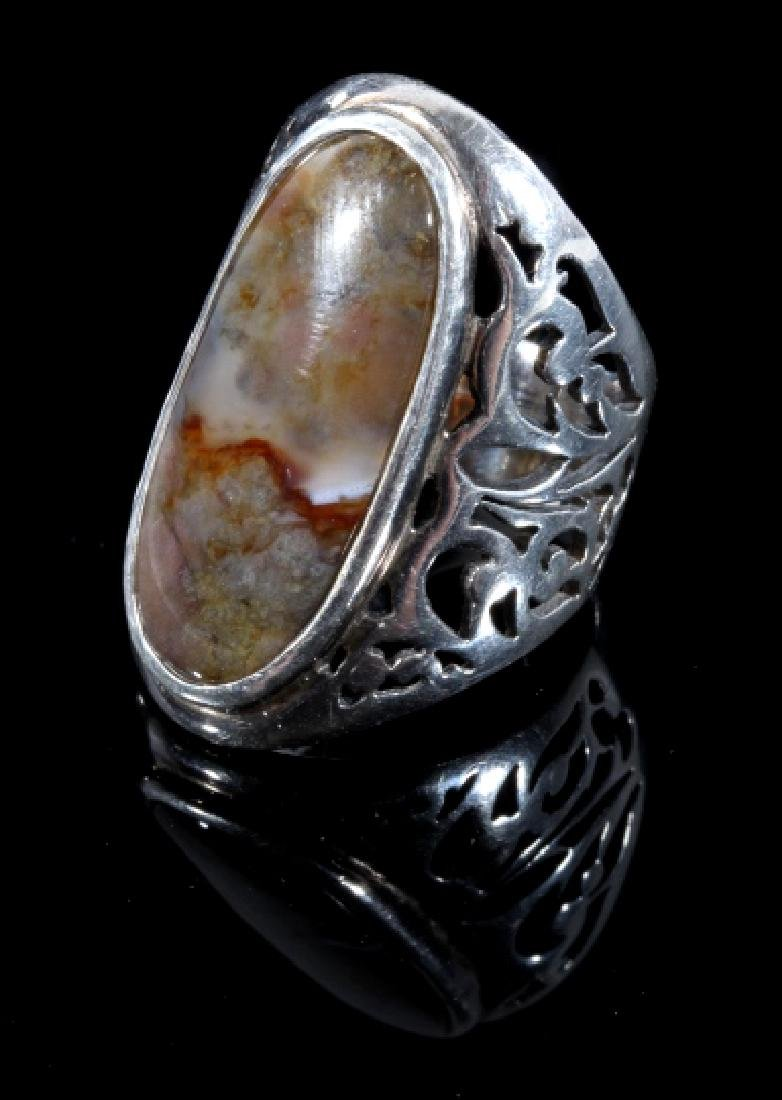 Navajo Sand Cast Sterling & Agate Cabochon Ring