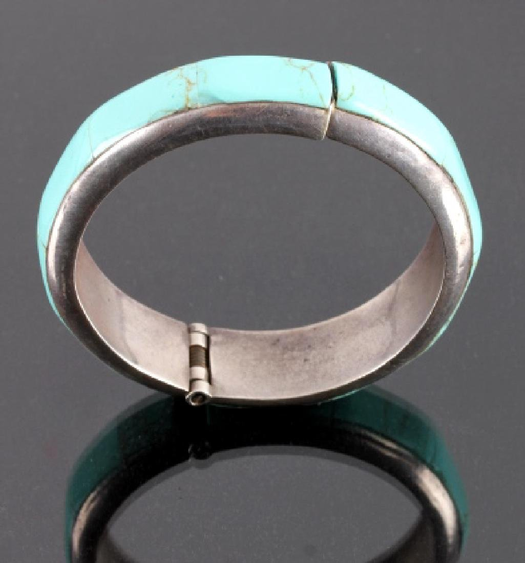 Sterling Silver and Turquoise Hinged Bracelet