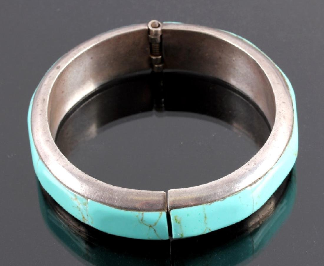 Sterling Silver and Turquoise Hinged Bracelet - 2