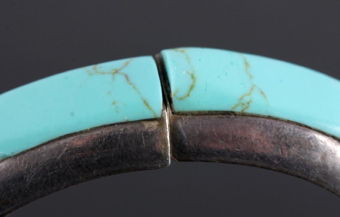 Sterling Silver and Turquoise Hinged Bracelet - 3