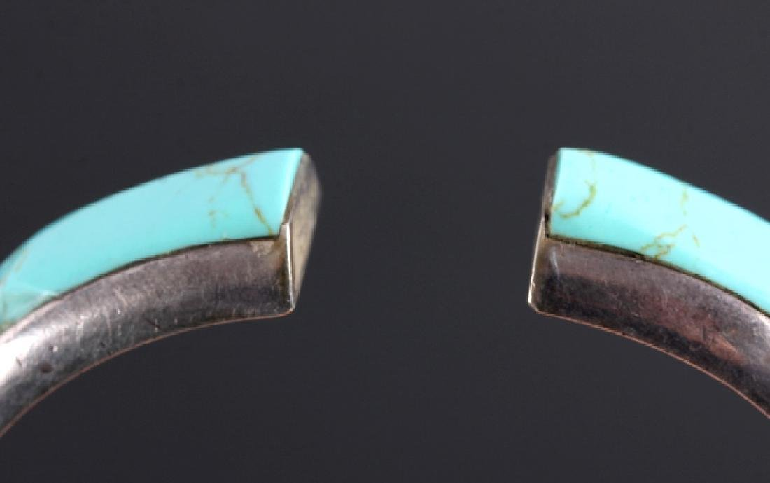 Sterling Silver and Turquoise Hinged Bracelet - 6