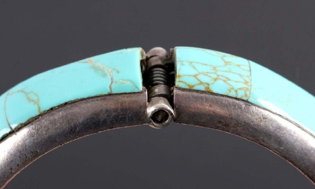 Sterling Silver and Turquoise Hinged Bracelet - 8