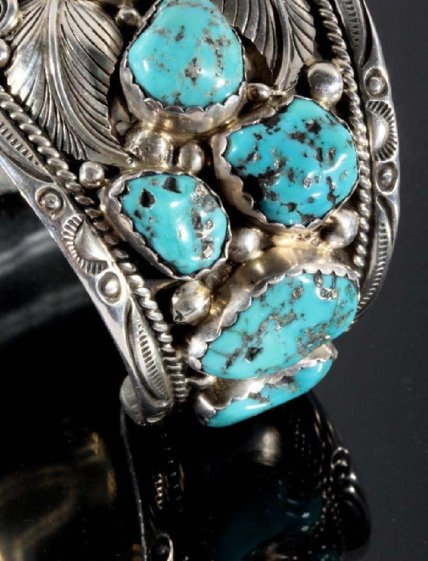 T. Singer Sterling & Morenci Turquoise Bracelet - 5