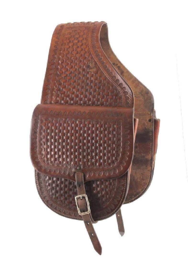 Early Montana Tooled Leather Western Saddlebags