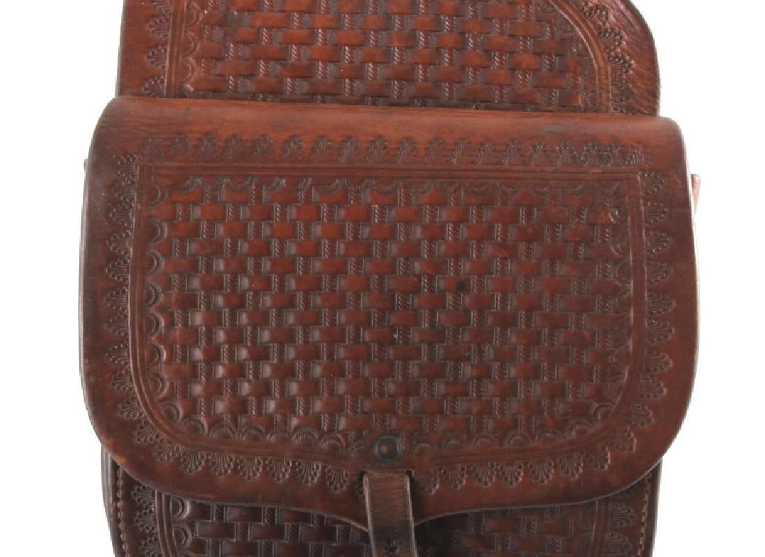 Early Montana Tooled Leather Western Saddlebags - 2