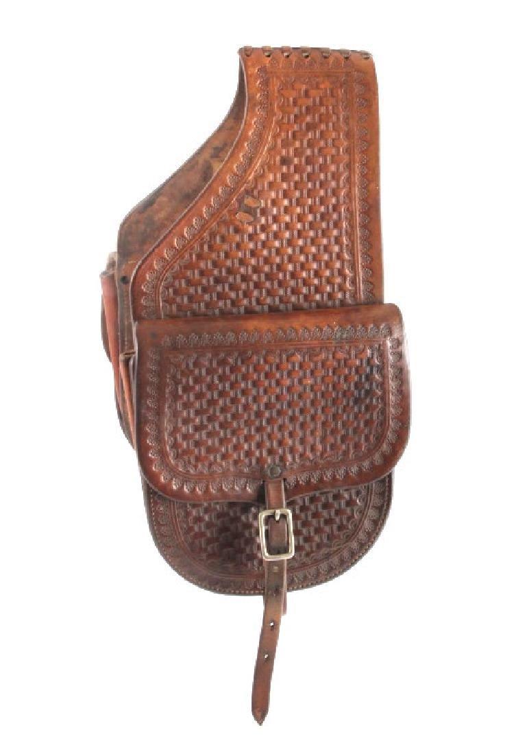 Early Montana Tooled Leather Western Saddlebags - 4
